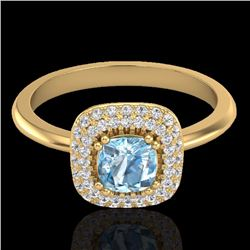Natural 1.16 CTW Sky Blue Topaz & Micro Diamond Ring Solitaire Halo 18K Yellow Gold - 21024-REF#-66Z
