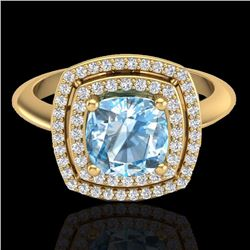 Natural 1.50 CTW Sky Blue Topaz & Micro Diamond Certified Halo Ring 18K Yellow Gold - 20755-REF#-69W