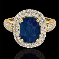 Natural 3.50 CTW Sapphire & Micro Pave Diamond Certified Halo Ring 18K Yellow Gold - 20724-REF#-109N