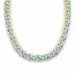 61.85 CTW SKY BLUE TOPAZ & DIAMOND SI-I CERTIFIED ETERNITY TENNIS NECKLACE - 29524-#242G8W