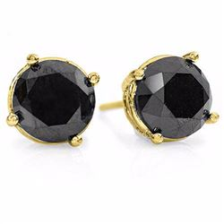 Natural 3.0 ctw Black Diamond Solitaire Stud Earrings 14K Yellow Gold - 14136-#70K8T