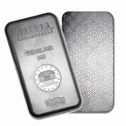 One piece 1 kilo 0.999 Fine Silver Bar Geiger Security Series