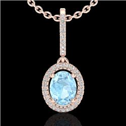 Natural 1.75 CTW Aquamarine & Micro Diamond Necklace Solitaire Halo 14K Rose Gold - 20649-REF#-48R8H