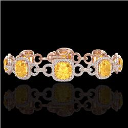 Natural 30 CTW Citrine & Micro Diamond Certified Bracelet 14K Rose Gold - 23019-REF#-267F7V