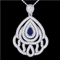 Natural 2 CTW Sapphire & Micro Pave Diamond Designer Necklace IN 18K White Gold - 21271-REF#-123A5X