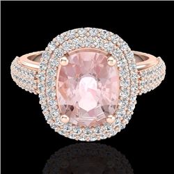 Natural 3.25 CTW Morganite & Micro Pave Diamond Certified Halo Ring 14K Rose Gold - 20719-REF#-117X7