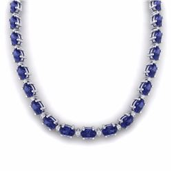 46.50 CTW TANZANITE & DIAMOND SI-I CERTIFIED ETERNITY TENNIS NECKLACE - 29435-#505G8K