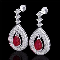 Natural 2.25 CTW Ruby & Micro Pave Diamond Certified Earrings Designer 14K White Gold - 23153-REF#-9