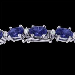 Natural 15 CTW Tanzanite & Diamond Certified Eternity Bracelet 10K White Gold - 21462-REF#-101R7H