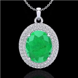 Natural 4.50 CTW Emerald & Micro Pave Diamond Certified Necklace 18K White Gold - 20562-REF#-78R5H