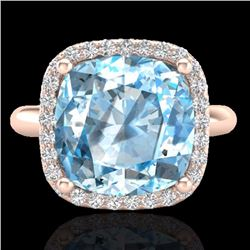 Natural 6 CTW Sky Blue Topaz & Micro Pave Halo Diamond Ring Solitaire 14K Rose Gold - 23107-REF#-42Z