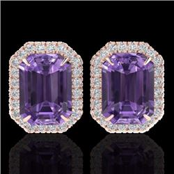 Natural 9.40 CTW Amethyst & Micro Pave Diamond Certified Halo Earrings 14K Rose Gold - 21215-REF#-60