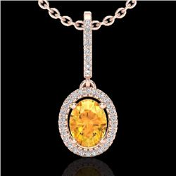 Natural 1.75 CTW Citrine & Micro Pave Diamond Necklace Solitaire Halo 14K Rose Gold - 20655-REF#-41V