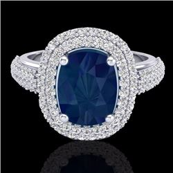 Natural 3.50 CTW Sapphire & Micro Pave Diamond Certified Halo Ring 18K White Gold - 20723-REF#-109V2