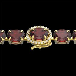 Natural 32 CTW Garnet & Diamond Eternity Tennis Micro Halo Bracelet 14K Yellow Gold - 23427-REF#-83Z