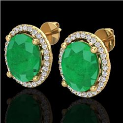 Natural 6 CTW Emerald & Micro Pave Diamond Certified Earrings Halo 18K Yellow Gold - 21054-REF#-57T3