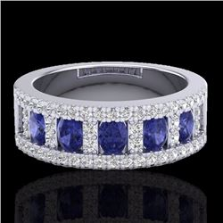Natural 1.75 CTW Tanzanite & Micro Pave Diamond Inspired Ring 10K White Gold - 20831-REF#-52T5K