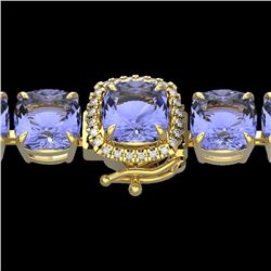 Natural 40 CTW Tanzanite & Micro Diamond Halo Designer Bracelet 14K Yellow Gold - 23326-REF#-402R3H
