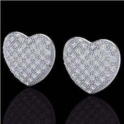 Natural 1.50 Designer CTW Micro Pave Diamond Certified Heart Earrings 14K White Gold - 20177-REF#-75