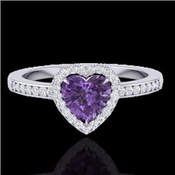 Natural 1 CTW Amethyst & Micro Pave Ring Heart Halo IN 14K White Gold - 21400-REF#-24T5K
