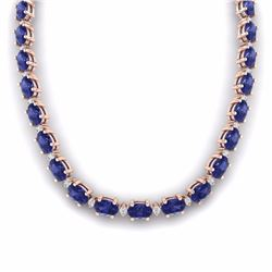 61.85 CTW TANZANITE & DIAMOND SI-I CERTIFIED ETERNITY TENNIS NECKLACE - 29520-#1012N8W