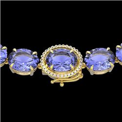 Natural 127 CTW Tanzanite & Diamond Halo Micro Eternity Necklace 14K Yellow Gold - 22318-REF#-2100V2