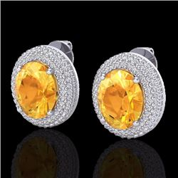 Natural 8 CTW Citrine & Micro Pave Diamond Certified Earrings 18K White Gold - 20221-REF#-106T8K