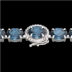 Natural 36 CTW London Blue Topaz & Diamond Tennis Micro Halo Bracelet 14K White Gold - 23446-REF#-89