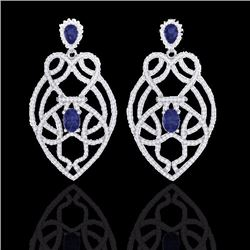 Natural 7 CTW Tanzanite & Micro Diamond Heart Earrings Solitaire 14K White Gold - 21143-REF#-237W6G