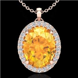 Natural 2.75 CTW Citrine & Micro Diamond Halo Solitaire Necklace 14K Rose Gold - 20584-REF#-37W3G