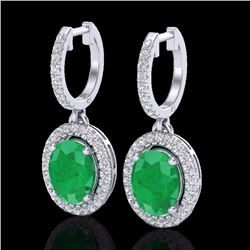 Natural 4.25 CTW Emerald & Micro Pave Diamond Earrings Solitaire Halo 18K White Gold - 20322-REF#-80