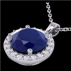 Natural 2 CTW Sapphire & Halo Diamond Micro Pave Necklace Solitaire 18K White Gold - 21575-REF#-36Y8