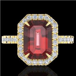 Natural 63 CTW Garnet & Micro Pave Diamond Certified Halo Ring 18K Yellow Gold - 21429-REF#-59N5A