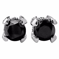 Natural 2.0 ctw Black & White Diamond Solitaire Stud Earrings 14K White Gold - 11852-#44V2A