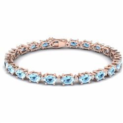 21.20 CTW AQUAMARINE & DIAMOND SI-I CERTIFIED ETERNITY TENNIS BRACELET - 29445-#196T3G