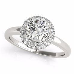 0.75 CTW Certified SI-I Diamond Bridal Solitaire Halo Ring 18K White - 26473-#93H2W