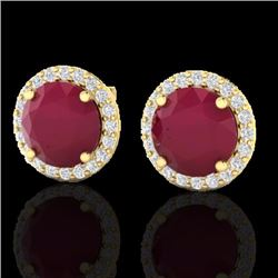 Natural 4 CTW Ruby & Halo Diamond Certified Micro Earrings Solitaire 18K Yellow Gold - 21502-REF#-53