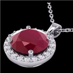 Natural 2 CTW Ruby & Halo Diamond Micro Pave Necklace Solitaire 18K White Gold - 21573-REF#-36R8H