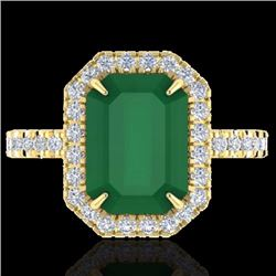 Natural 5.33 CTW Emerald & Micro Pave Diamond Certified Halo Ring 18K Yellow Gold - 21426-REF#-62X2T