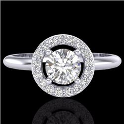 Natural .70 CTW Micro Pave Halo Solitaire Diamond Certified Ring 18K White Gold - 23287-REF#-77K3W