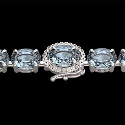Natural 36 CTW Sky Blue Topaz & Diamond Tennis Micro Halo Bracelet 14K White Gold - 23443-REF#-80H7M