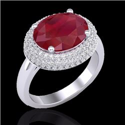 Natural 4.50 CTW Ruby & Micro Pave Diamond Certified Ring 18K White Gold - 20922-REF#-99F7V