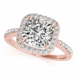 0.60 CTW Certified SI-I Cushion Diamond Bridal Solitaire Halo Ring 18K - 27112-#70G3M