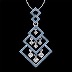 Natural 1.50 CTW Micro Blue & White Diamond Necklace Dangling Designer 14K White Gold - 22491-REF#-1
