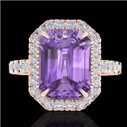 Natural 53 CTW Amethyst & Micro Pave Diamond Certified Halo Ring 14K Rose Gold - 21416-REF#-50X3T