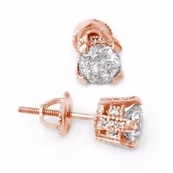 Natural 1.0 ctw Diamond Solitaire Stud Earrings 14K Rose Gold - 10502-#86X5Y