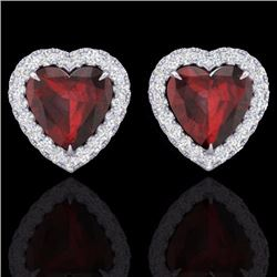 Natural 2.22 CTW Garnet & Micro Pave Diamond Earrings Heart Halo IN 14K White Gold - 21205-REF#-29X3