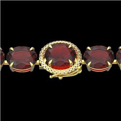 Natural 49 CTW Garnet & Micro Diamond Halo Designer Bracelet 14K Yellow Gold - 22261-REF#-131T4K