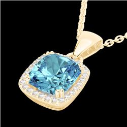 Natural 3.50 CTW Sky Blue Topaz & Micro Diamond Halo Solitaire Necklace 18K Yellow Gold - 22834-REF#