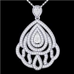 Natural 2 CTW Micro Pave Diamond Certified DesignerNecklace IN 18K White Gold - 21264-REF#-179N2A